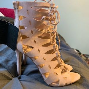 Forever we strapped nude heels size 8.5